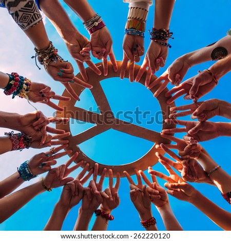 hands  form a circle  - stock photo