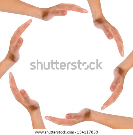 Hands forming a circle isolated on white background. - stock photo