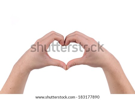 Hands forming a heart. Isolated on a white background. - stock photo