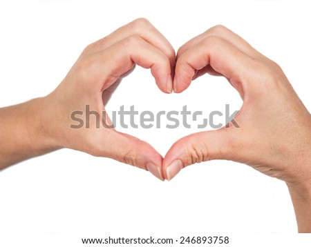 Hands forming a heart isolated on white background - stock photo