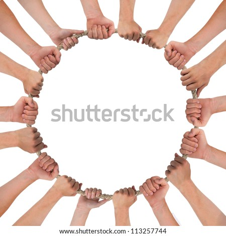 Hands forming circle isolated on white - stock photo
