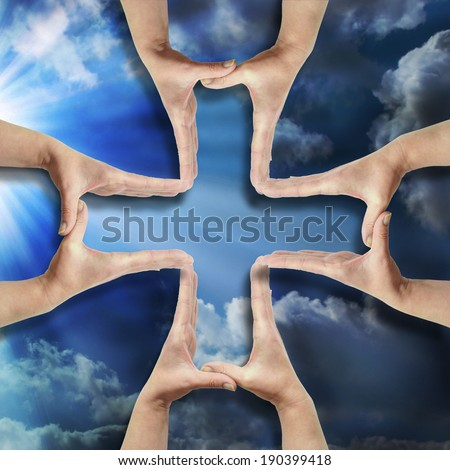 hands forming pharmacy cross