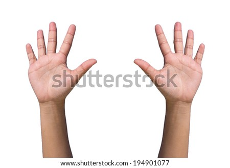 hands forming raise/agree on white background