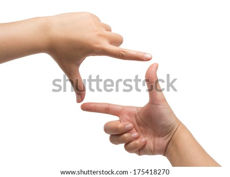 Hands framing composition isolated on white