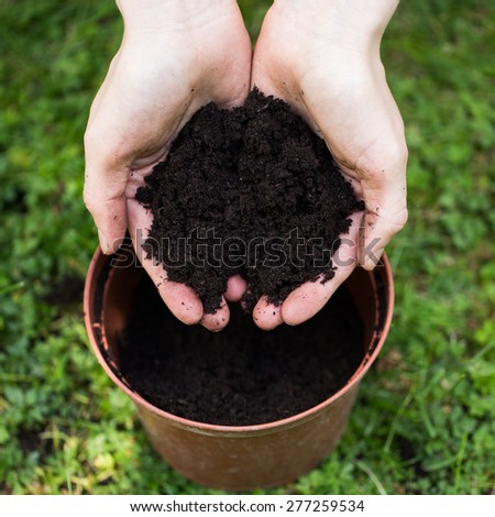 Hands full of dark soil  - stock photo