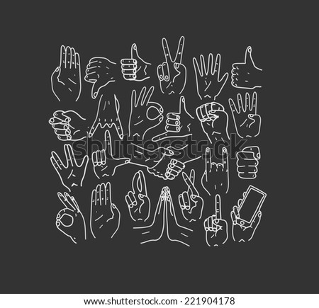 Hands.Gestures. Hand drawn illustration. Doodle. - stock photo