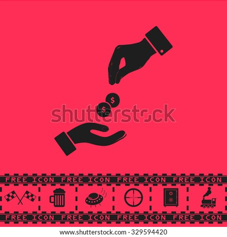 Hands Giving and Receiving Money. Black flat illustration pictogram and bonus icon - Racing flag, Beer mug, Ufo fly, Sniper sight, Safe, Train on pink background - stock photo