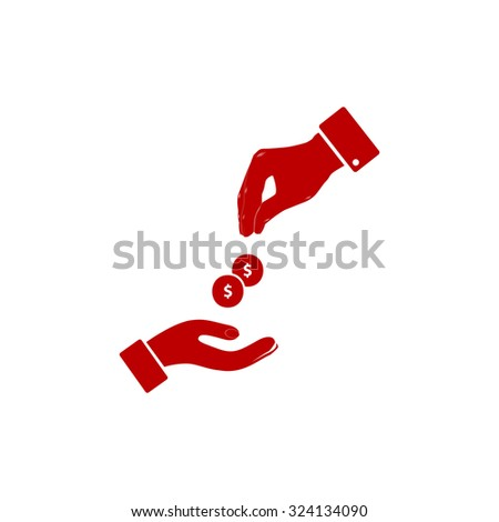 Hands Giving and Receiving Money. Red flat icon. Illustration symbol on white background - stock photo