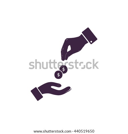 Hands Giving and Receiving Money. Simple blue icon on white background - stock photo