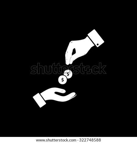 Hands Giving and Receiving Money. Simple icon. Black and white. Flat illustration - stock photo