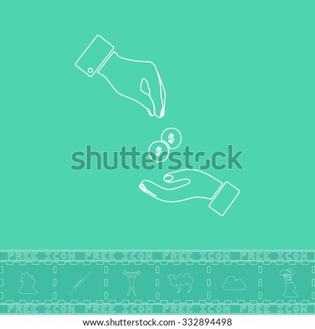 Hands Giving and Receiving Money. White outline flat icon and bonus symbol. Simple illustration pictogram on green background - stock photo