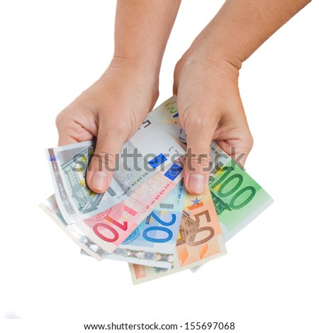 hands giving euro money isolated on white background