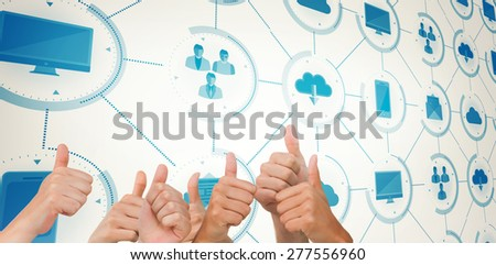 Hands giving thumbs up against apps interface