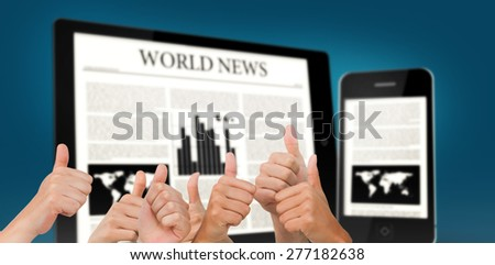 Hands giving thumbs up against digital tablet and smartphone showing news - stock photo