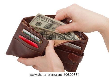 Hands got dollars from his wallet. Isolated on white background