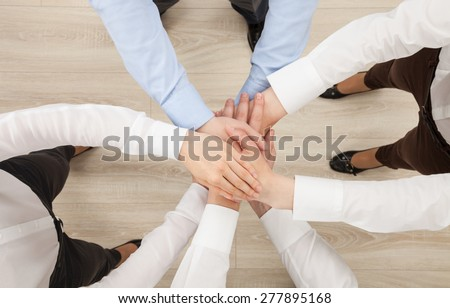 Hands group, view from above - stock photo