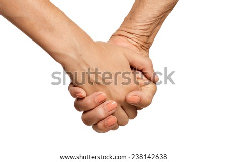 Hands held together on  a white background
