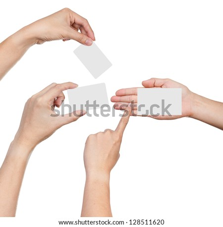 Hands hold business cards collage on white background - stock photo