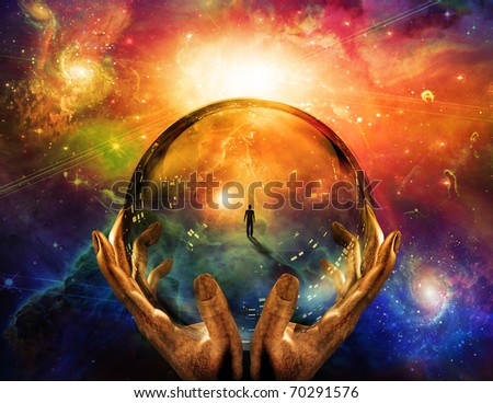 Hands hold glass sphere with view of man - stock photo