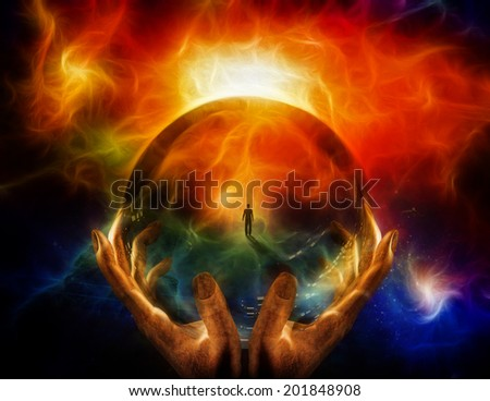 Hands hold glass sphere with view of man Elements of this image furnished by NASA