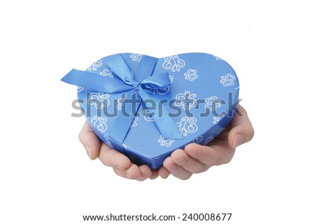 hands hold heart-gift on white background