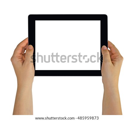 Hands holding a black tablet pc with white blank empty screen. Isolated on white background.
