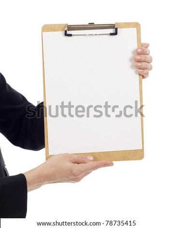 Hands holding a clipboard with a blank paper isolated over white background, write your text message - stock photo