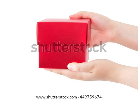 hands holding a red gift box, giving red box, isolated on white background, clipping path