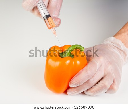 hands holding a syringe with orange liquid next to a sweet pepper representing gmo, genetically modified organism or food - stock photo