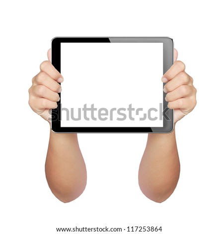 hands holding a tablet mini with isolated screen + Clipping Path - stock photo