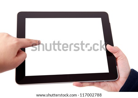 Hands holding a tablet or pad