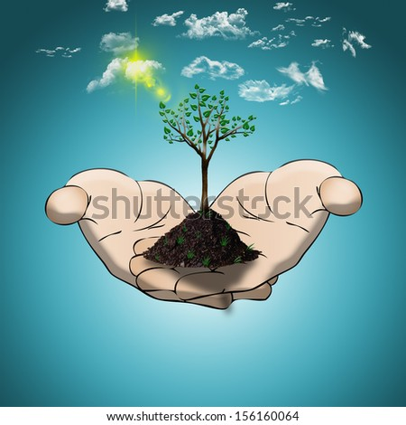 hands holding a tree/Eco concept/Save the environment - stock photo