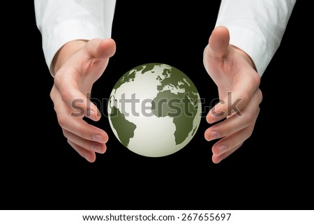 Hands holding against earth