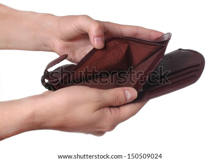 Hands holding an empty wallet, isolated on white background - stock photo