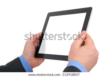 hands holding and pointing on contemporary digital frame with blank screen.