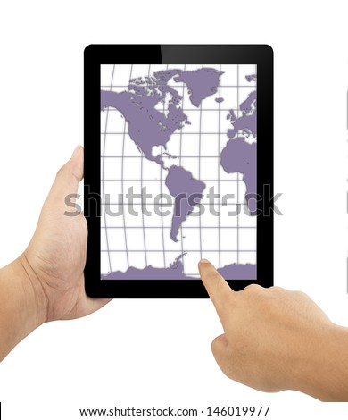 hands holding and pointing the map on pad mobile device