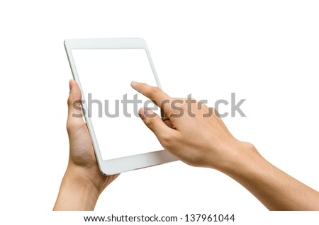 hands holding and pointing to a white tablet (isolated) - stock photo