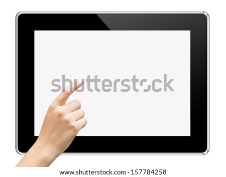 hands holding and touching on tablet pc isolated on white background - stock photo