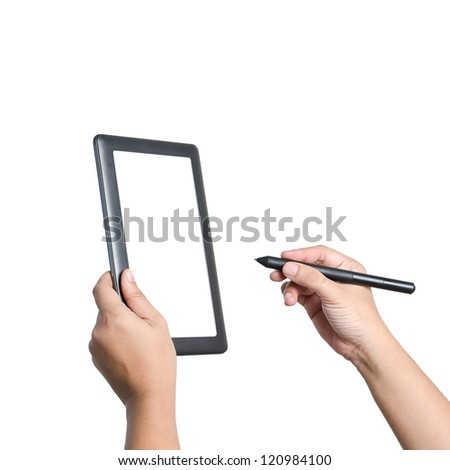 Hands holding and writing on digital tablet.  Isolated on white. - stock photo