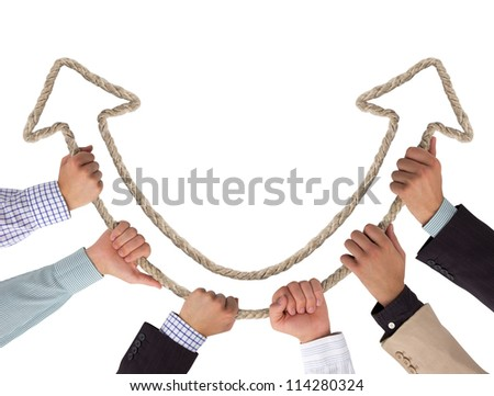 Hands holding arrows pointing upwards - stock photo