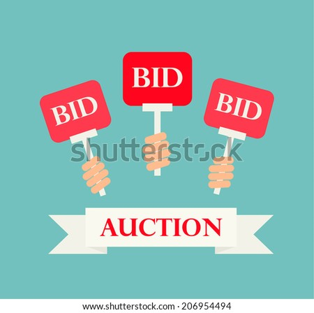 Hands holding auction paddles, auction illustration - stock photo