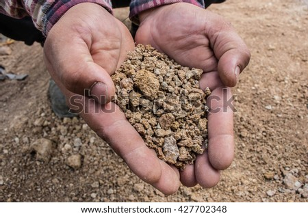 Hands holding bad soil in agricultural field