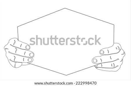 Hands holding blank advertisement card with copy space - stock photo