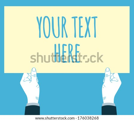 hands holding blank board  - stock photo