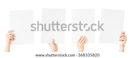 hands holding blank paper isolated - stock photo