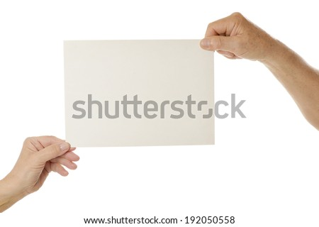 Hands holding blank paper on a white background