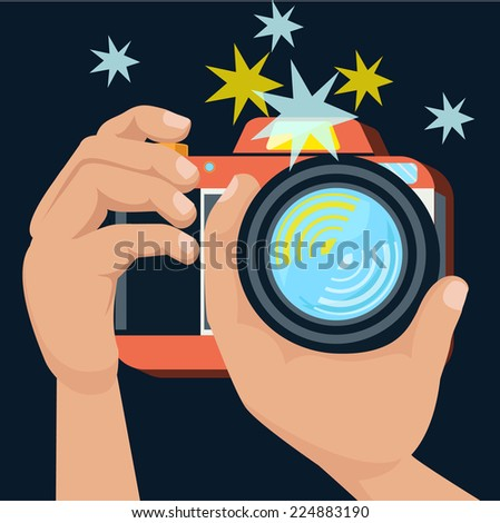 Hands holding camera and photographs in flat design cartoon retro style. Raster version - stock photo