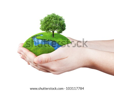 Hands holding clear green meadow, tree and river. Concept for growing business, ecology, freshness, freedom and other lifestyle issues. Green fields collection. - stock photo