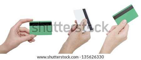 hands holding credit cards isolated on white - stock photo