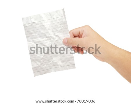 Hands holding crumpled paper note